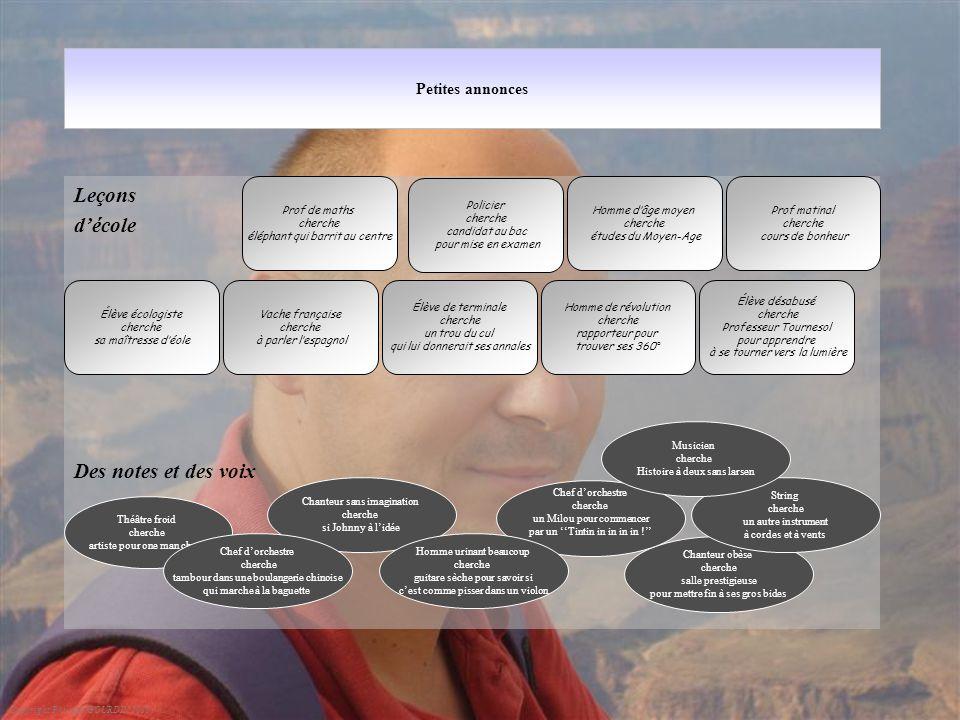 Petites annonces Leçons d'école Des notes et des voix Copyright Philippe GOURDIN 2010 Élève désabusé cherche Professeur Tournesol pour apprendre à se