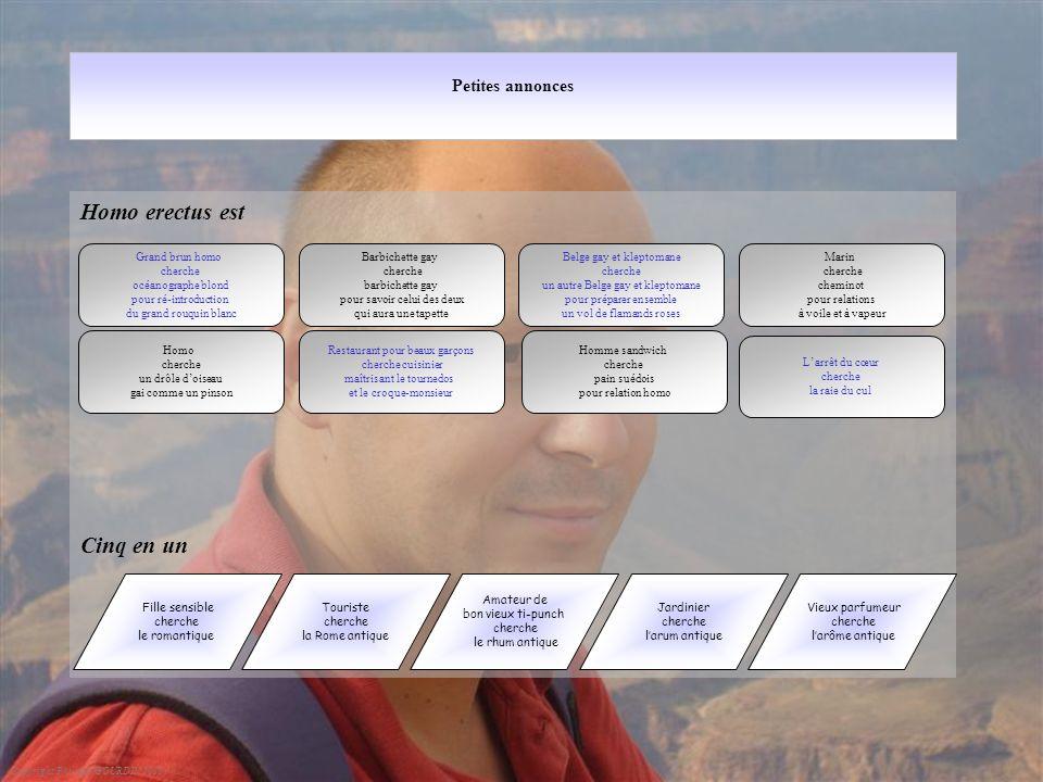Petites annonces Homo erectus est Cinq en un Copyright Philippe GOURDIN 2010 Barbichette gay cherche barbichette gay pour savoir celui des deux qui au