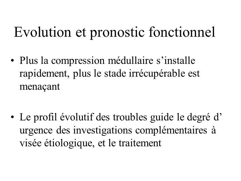 Evolution et pronostic fonctionnel Plus la compression médullaire s'installe rapidement, plus le stade irrécupérable est menaçant Le profil évolutif d