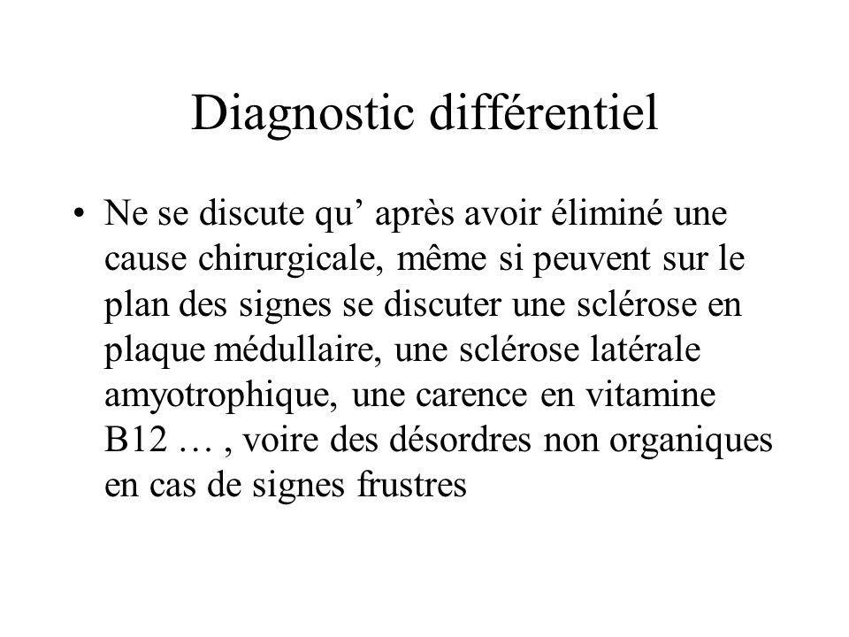 Diagnostic différentiel Ne se discute qu' après avoir éliminé une cause chirurgicale, même si peuvent sur le plan des signes se discuter une sclérose