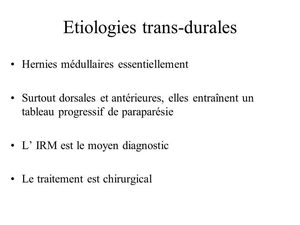 Etiologies trans-durales Hernies médullaires essentiellement Surtout dorsales et antérieures, elles entraînent un tableau progressif de paraparésie L'