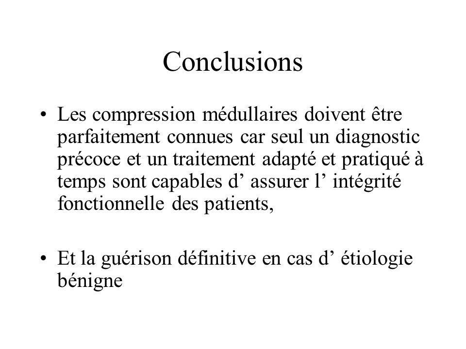 Conclusions Les compression médullaires doivent être parfaitement connues car seul un diagnostic précoce et un traitement adapté et pratiqué à temps s