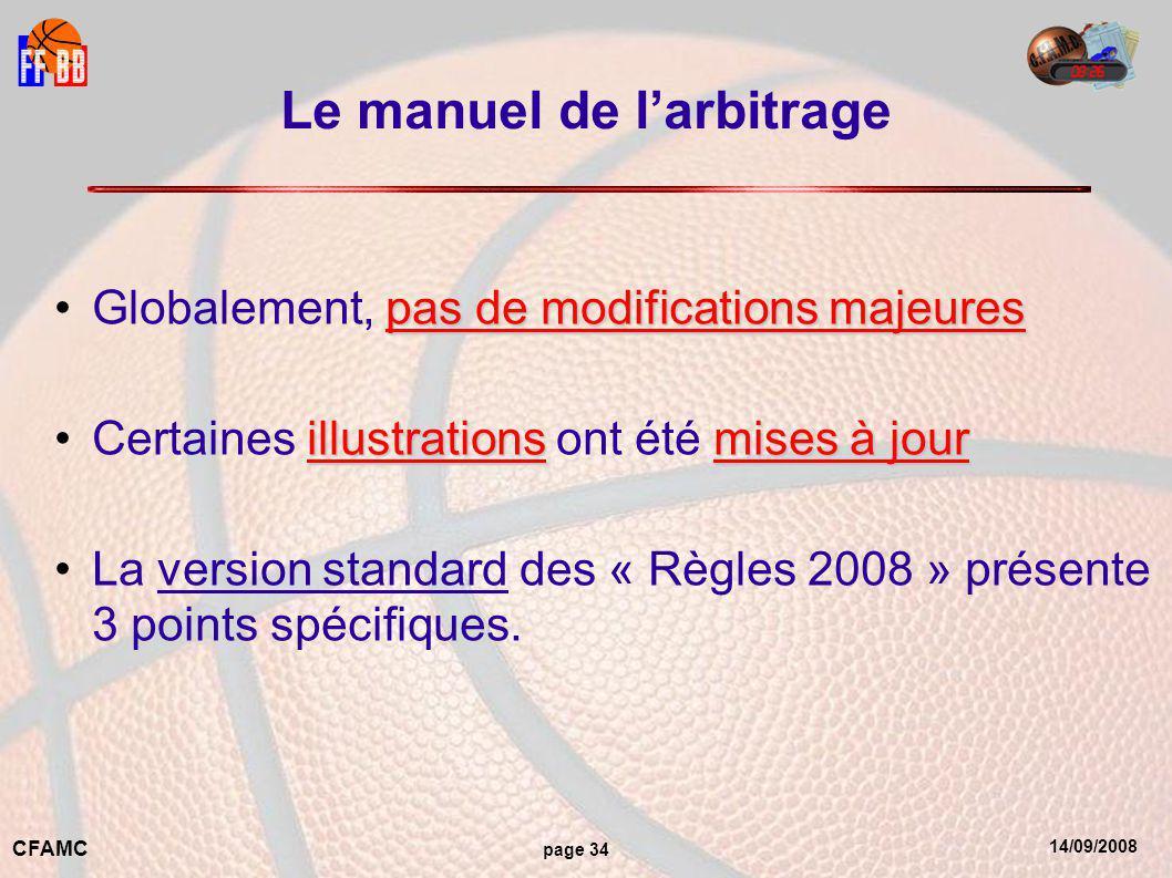 14/09/2008 CFAMC page 34 Le manuel de l'arbitrage pas de modifications majeuresGlobalement, pas de modifications majeures illustrationsmises à jourCertaines illustrations ont été mises à jour La version standard des « Règles 2008 » présente 3 points spécifiques.