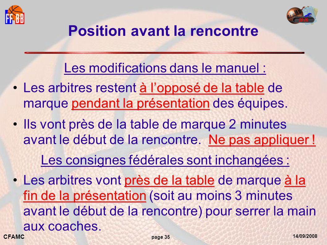 14/09/2008 CFAMC page 35 Position avant la rencontre Les modifications dans le manuel : à l'opposé de la table pendant la présentationLes arbitres restent à l'opposé de la table de marque pendant la présentation des équipes.