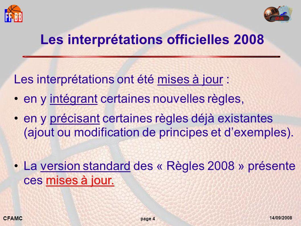 14/09/2008 CFAMC page 4 Les interprétations officielles 2008 Les interprétations ont été mises à jour : en y intégrant certaines nouvelles règles, en y précisant certaines règles déjà existantes (ajout ou modification de principes et d'exemples).