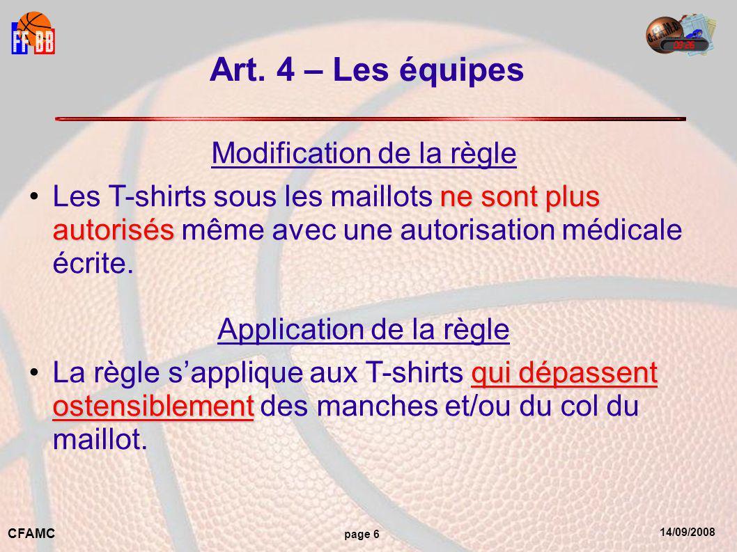 14/09/2008 CFAMC page 7 Art.4 – Les équipes Rappels Les maillots doivent être dans les shorts.