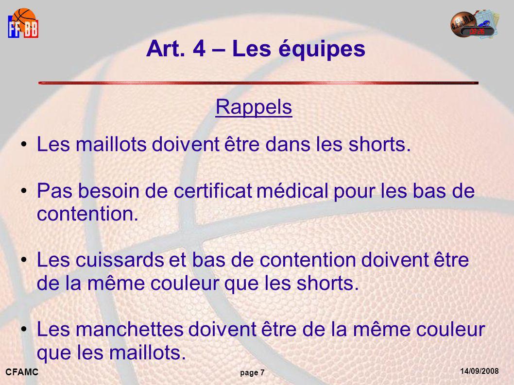 14/09/2008 CFAMC page 7 Art. 4 – Les équipes Rappels Les maillots doivent être dans les shorts.