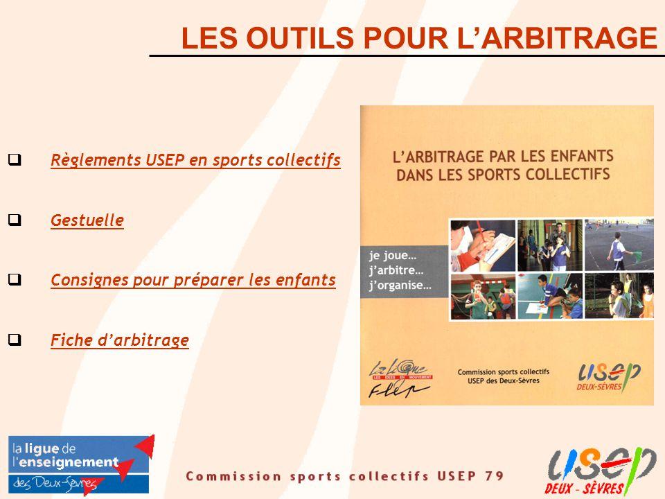  Règlements USEP en sports collectifs Règlements USEP en sports collectifs  Gestuelle Gestuelle  Consignes pour préparer les enfants Consignes pour