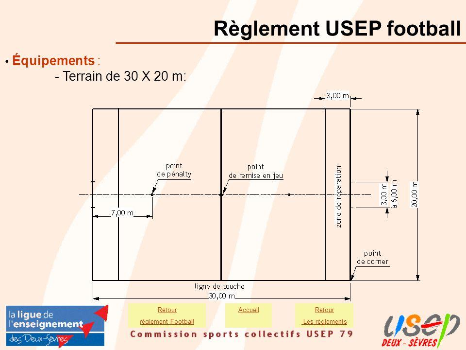 Équipements : - Terrain de 30 X 20 m: Règlement USEP football Retour Les règlements Retour règlement Football Accueil