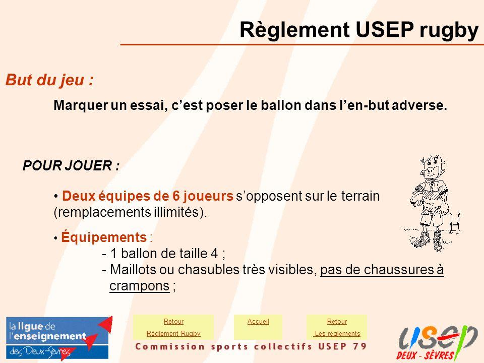 Règlement USEP rugby But du jeu : Marquer un essai, c'est poser le ballon dans l'en-but adverse. POUR JOUER : Deux équipes de 6 joueurs s'opposent sur