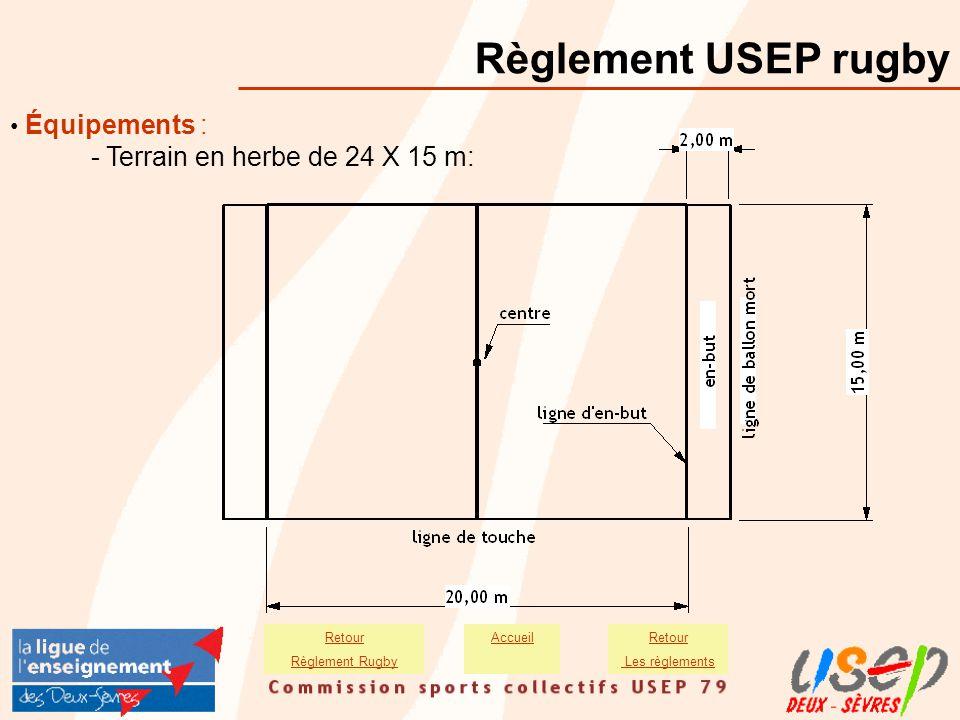 Équipements : - Terrain en herbe de 24 X 15 m: Règlement USEP rugby AccueilRetour Les règlements Retour Règlement Rugby