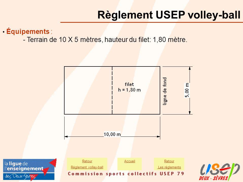 Équipements : - Terrain de 10 X 5 mètres, hauteur du filet: 1,80 mètre. Règlement USEP volley-ball AccueilRetour Les règlements Retour Règlement volle