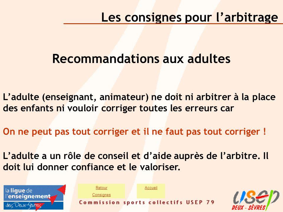 Les consignes pour l'arbitrage AccueilRetour Consignes Recommandations aux adultes L'adulte (enseignant, animateur) ne doit ni arbitrer à la place des