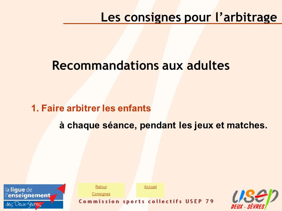 Les consignes pour l'arbitrage AccueilRetour Consignes Recommandations aux adultes 1. Faire arbitrer les enfants à chaque séance, pendant les jeux et