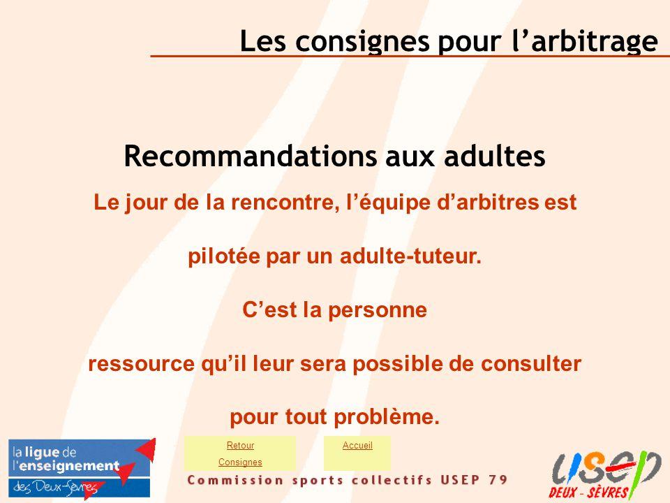Les consignes pour l'arbitrage AccueilRetour Consignes Recommandations aux adultes Le jour de la rencontre, l'équipe d'arbitres est pilotée par un adu