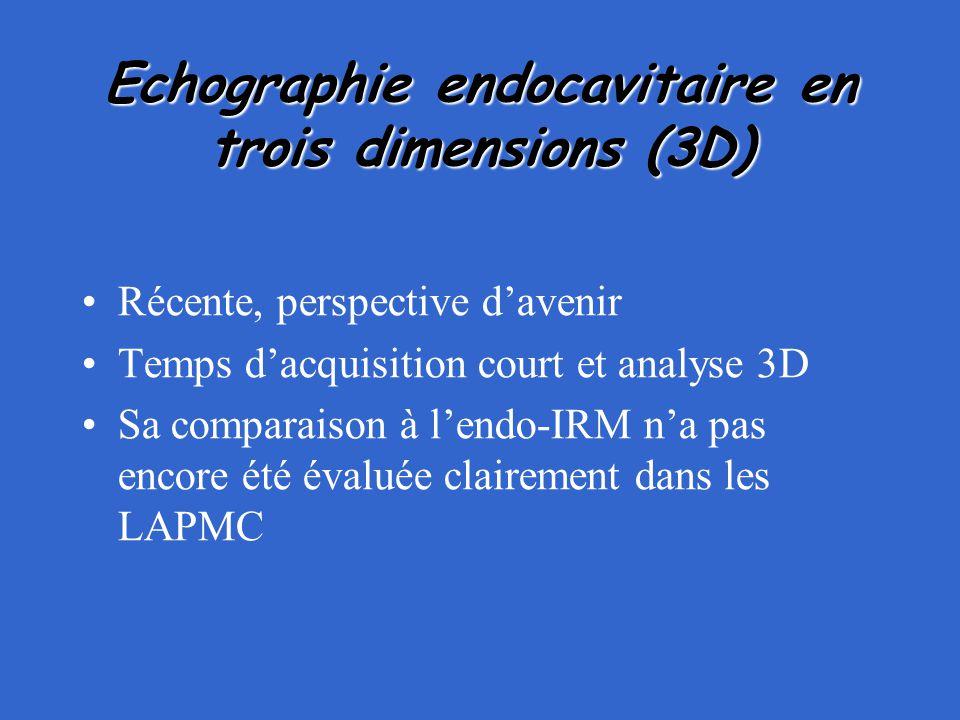 Echographie endocavitaire en trois dimensions (3D) Récente, perspective d'avenir Temps d'acquisition court et analyse 3D Sa comparaison à l'endo-IRM n
