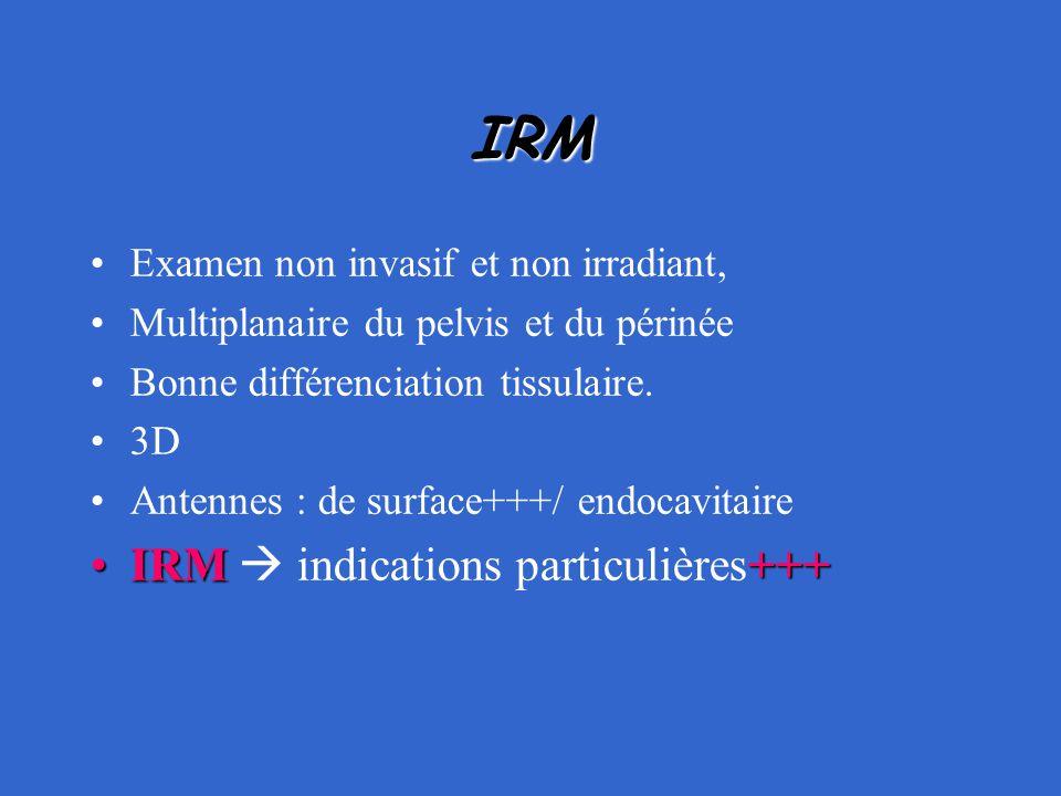 IRM Examen non invasif et non irradiant, Multiplanaire du pelvis et du périnée Bonne différenciation tissulaire. 3D Antennes : de surface+++/ endocavi