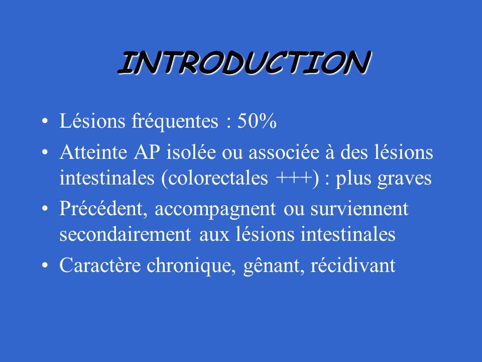 INTRODUCTION Lésions fréquentes : 50% Atteinte AP isolée ou associée à des lésions intestinales (colorectales +++) : plus graves Précédent, accompagne