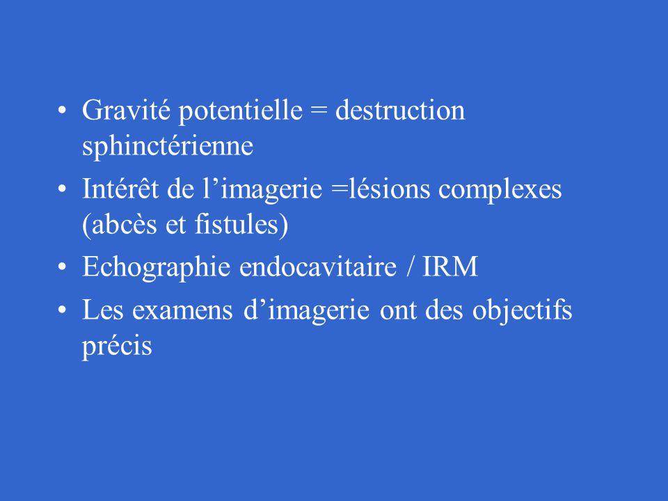 Gravité potentielle = destruction sphinctérienne Intérêt de l'imagerie =lésions complexes (abcès et fistules) Echographie endocavitaire / IRM Les exam