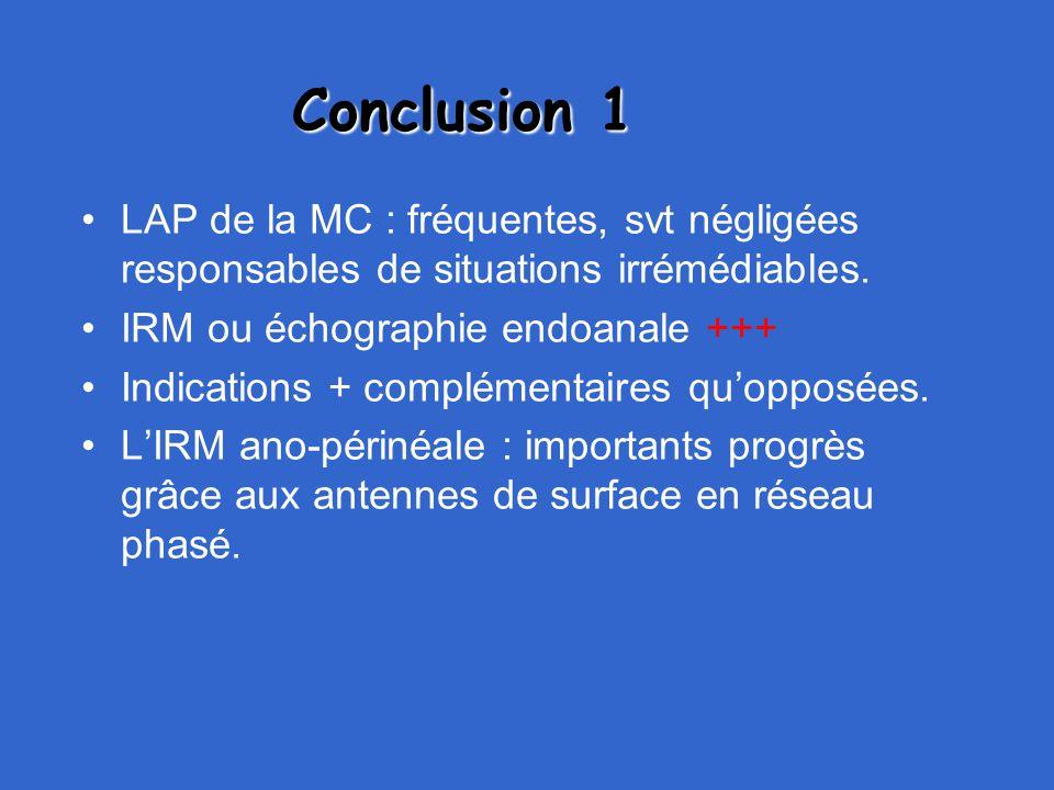 Conclusion 1 LAP de la MC : fréquentes, svt négligées responsables de situations irrémédiables. IRM ou échographie endoanale +++ Indications + complém