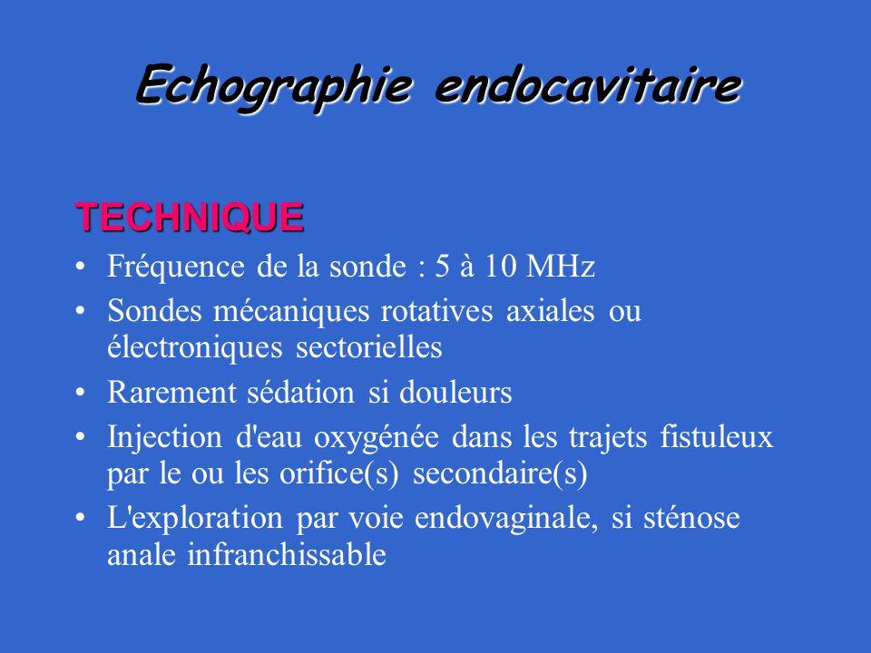 Echographie endocavitaire TECHNIQUE Fréquence de la sonde : 5 à 10 MHz Sondes mécaniques rotatives axiales ou électroniques sectorielles Rarement séda