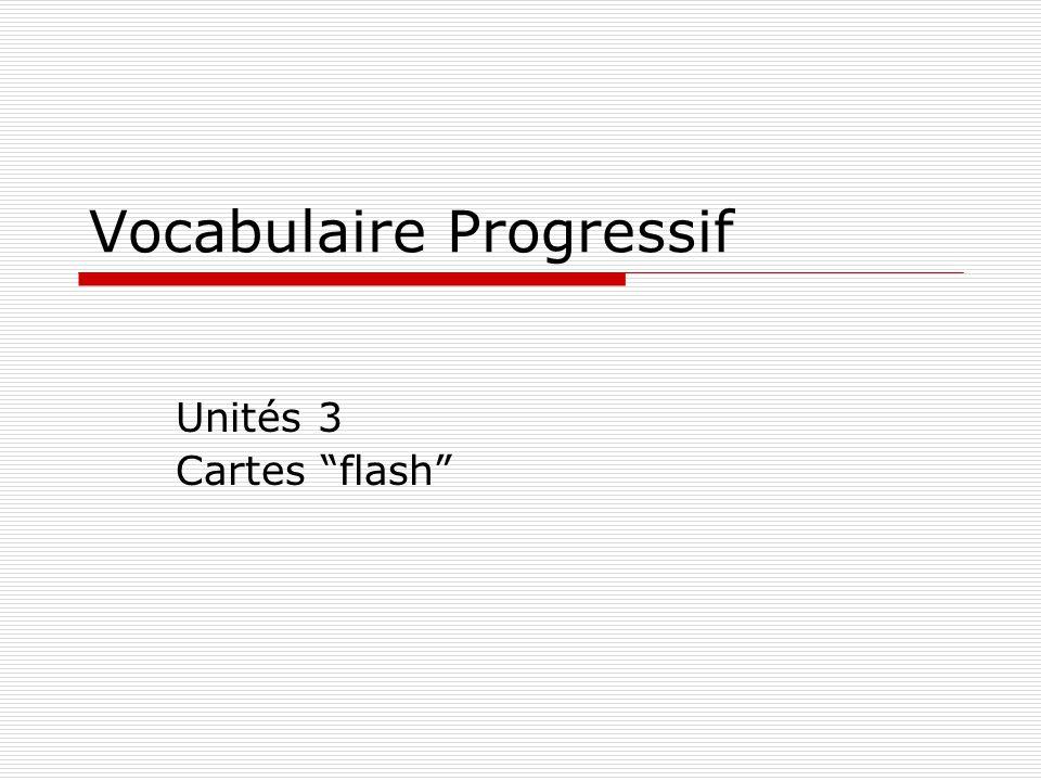 """Vocabulaire Progressif Unités 3 Cartes """"flash"""""""