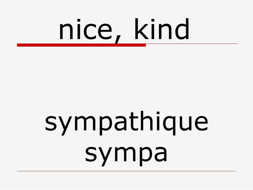 sympathique sympa nice, kind