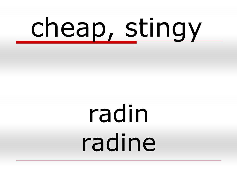 radin radine cheap, stingy