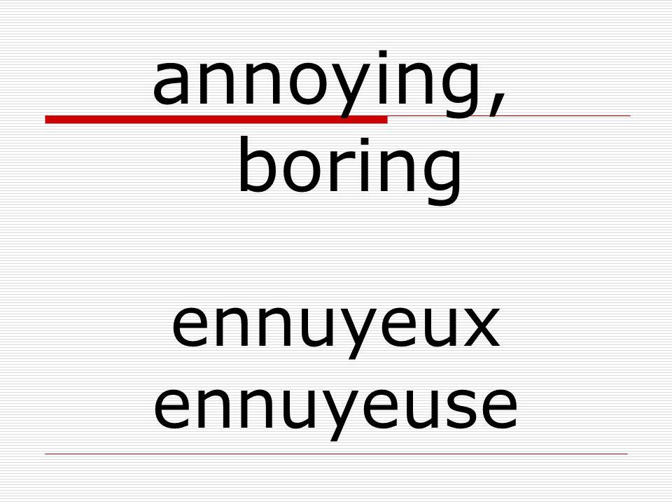 ennuyeux ennuyeuse annoying, boring