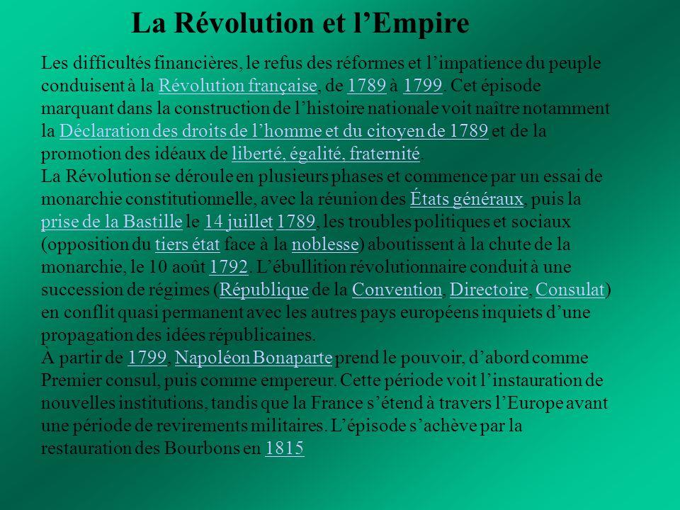 La Révolution et l'Empire Les difficultés financières, le refus des réformes et l'impatience du peuple conduisent à la Révolution française, de 1789 à