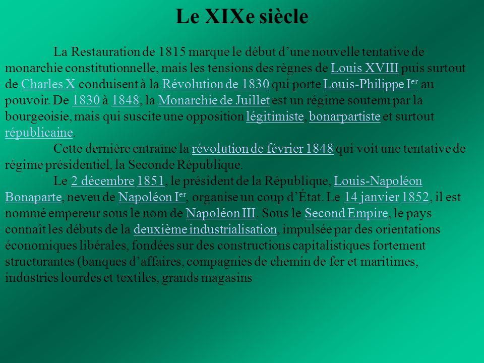 Le XIXe siècle La Restauration de 1815 marque le début d'une nouvelle tentative de monarchie constitutionnelle, mais les tensions des règnes de Louis
