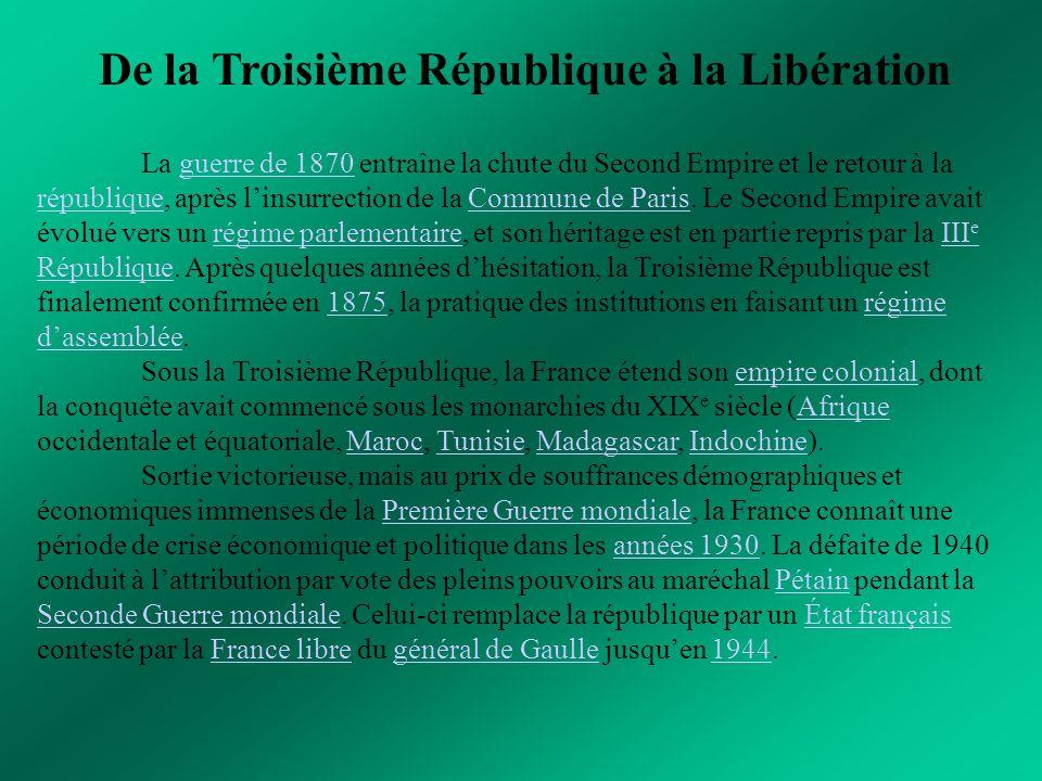 De la Troisième République à la Libération La guerre de 1870 entraîne la chute du Second Empire et le retour à la république, après l'insurrection de