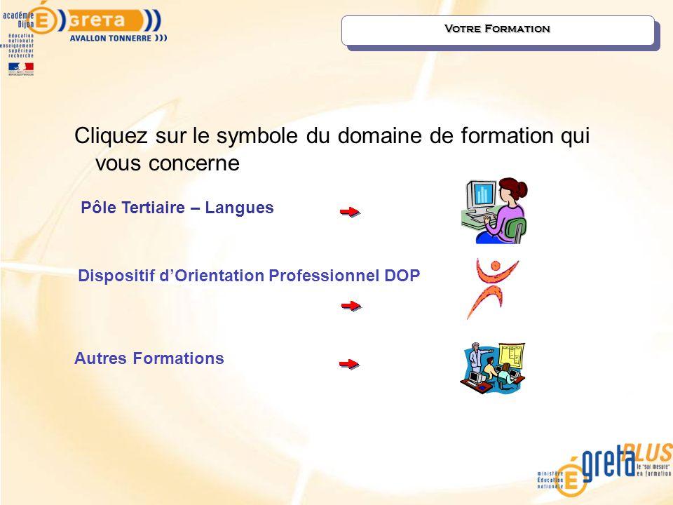 Cliquez sur le symbole du domaine de formation qui vous concerne Votre Formation Autres Formations Pôle Tertiaire – Langues Dispositif d'Orientation P