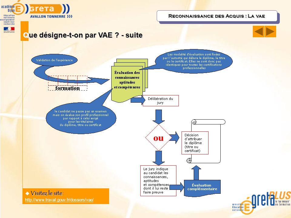 Que désigne-t-on par VAE ? - suite Visitez le site  Visitez le site : http://www.travail.gouv.fr/dossiers/vae/