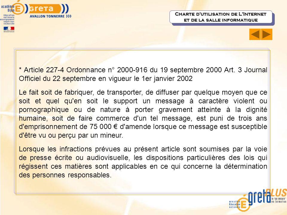 * Article 227-4 Ordonnance n° 2000-916 du 19 septembre 2000 Art. 3 Journal Officiel du 22 septembre en vigueur le 1er janvier 2002 Le fait soit de fab