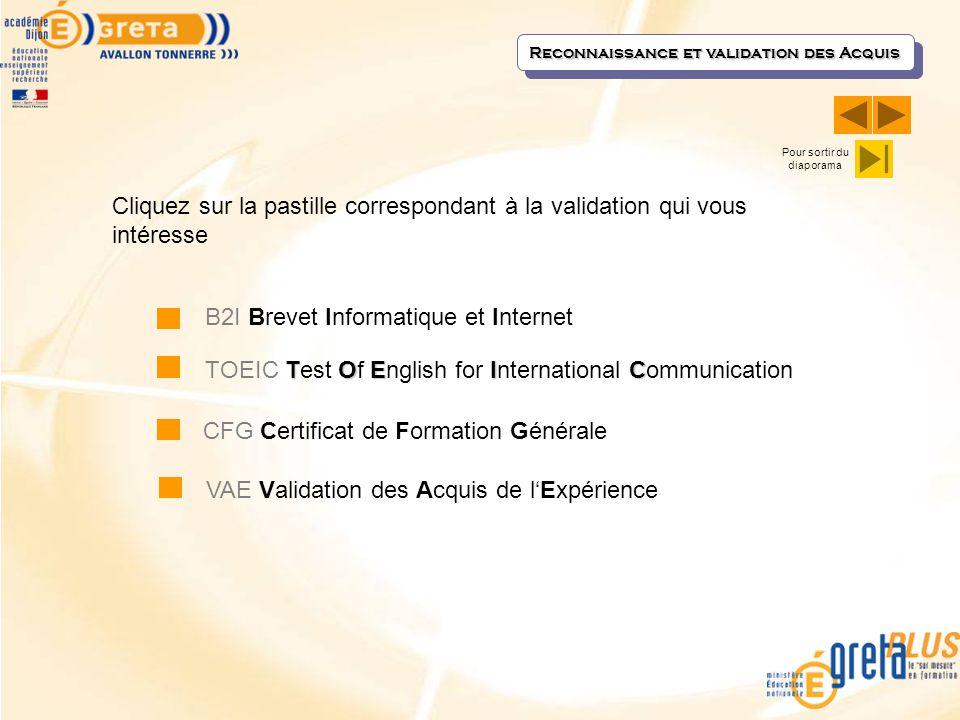 Reconnaissance et validation des Acquis B2I Brevet Informatique et Internet TOEIC TOEIC Test Of English for International Communication CFG Certificat