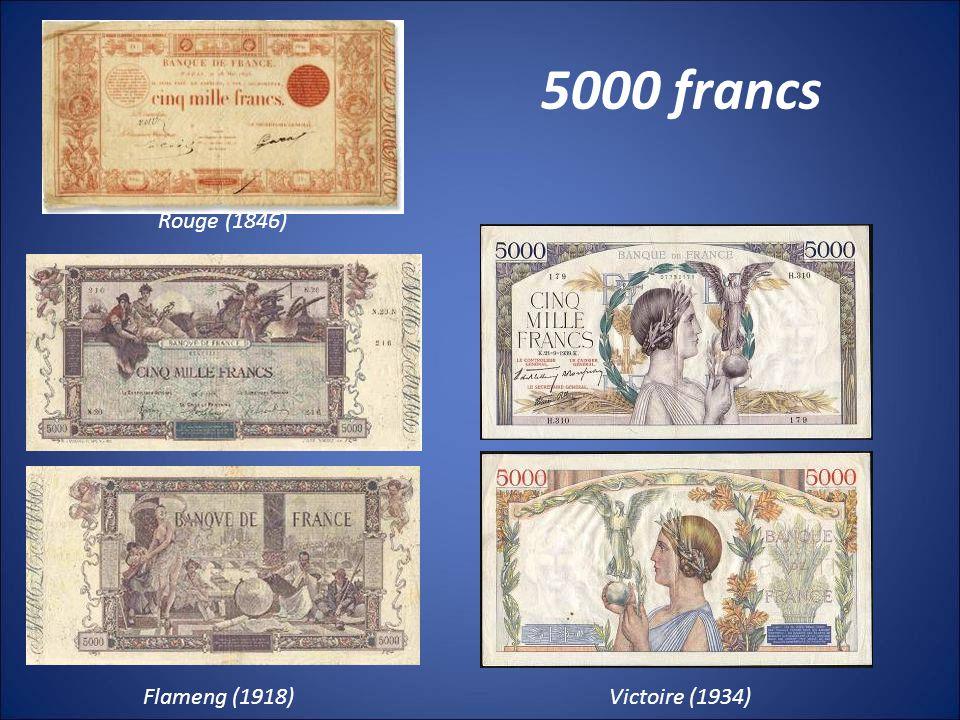 5000 francs Rouge (1846) Flameng (1918)Victoire (1934)