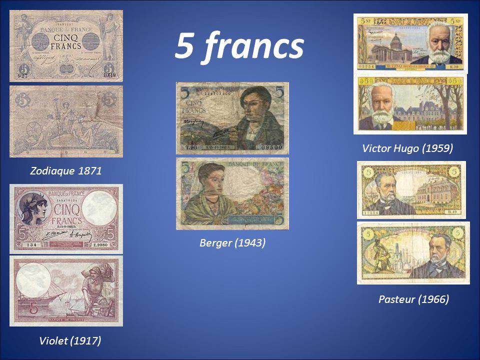 10 francs Minerve (1916) Mineur (1941) Richelieu (1959) Voltaire (1963) Berlioz (1972)