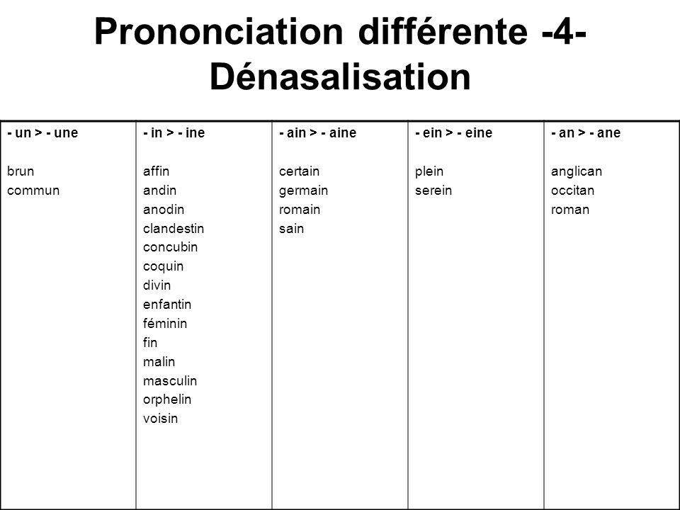 Prononciation différente -4- Dénasalisation - un > - une brun commun - in > - ine affin andin anodin clandestin concubin coquin divin enfantin féminin