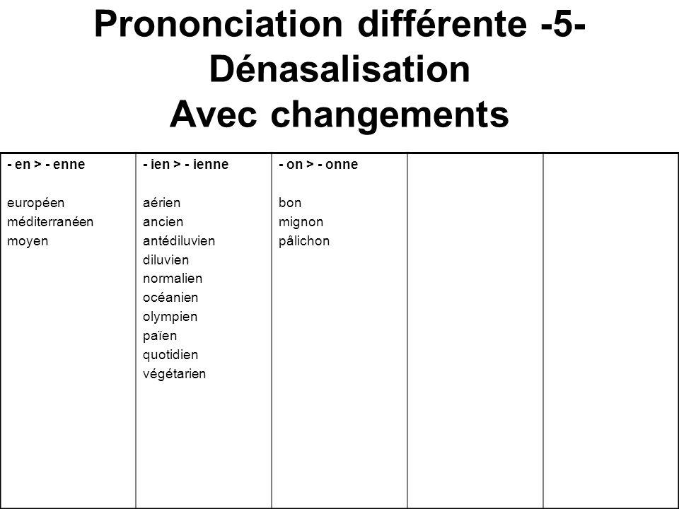 Prononciation différente -5- Dénasalisation Avec changements - en > - enne européen méditerranéen moyen - ien > - ienne aérien ancien antédiluvien dil