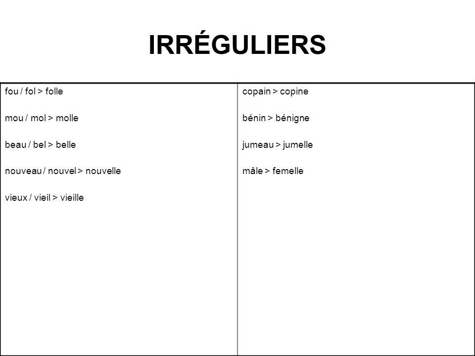 IRRÉGULIERS fou / fol > folle mou / mol > molle beau / bel > belle nouveau / nouvel > nouvelle vieux / vieil> vieille copain > copine bénin > bénigne