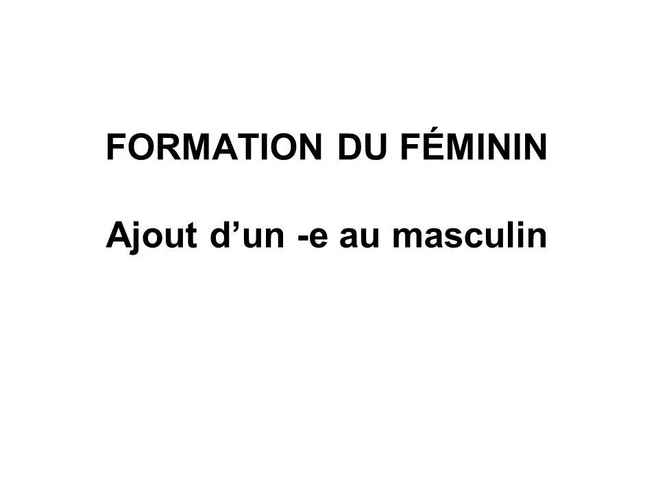 FORMATION DU FÉMININ Ajout d'un -e au masculin