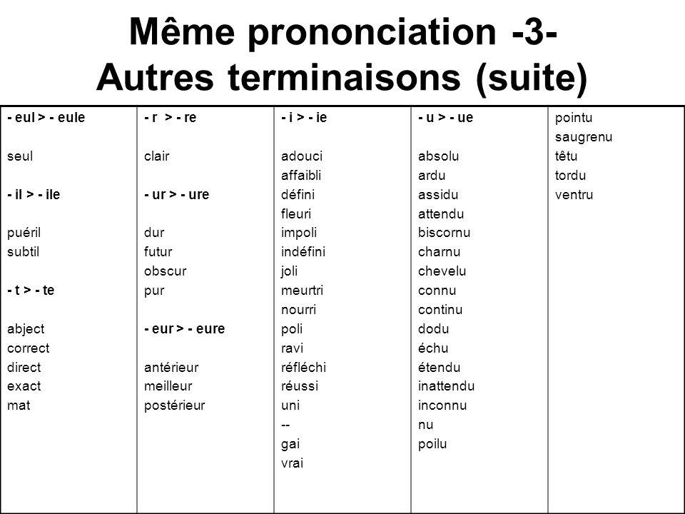 Même prononciation -3- Autres terminaisons (suite) - eul > - eule seul - il > - ile puéril subtil - t > - te abject correct direct exact mat - r > - r