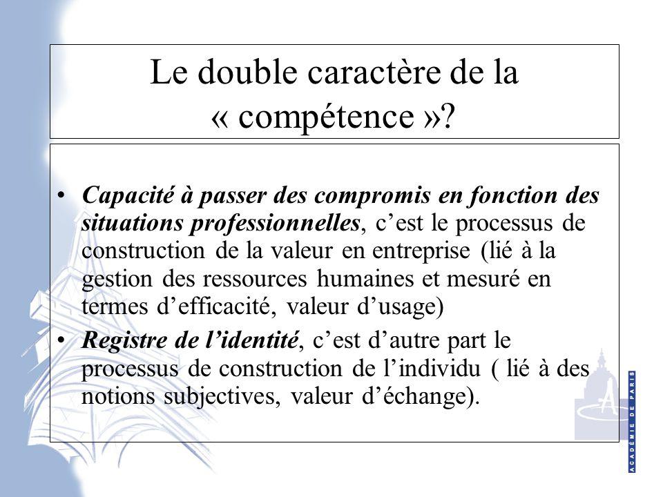 Le double caractère de la « compétence ».