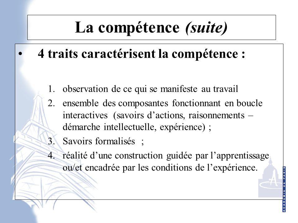 La compétence (suite) 4 traits caractérisent la compétence : 1.observation de ce qui se manifeste au travail 2.ensemble des composantes fonctionnant en boucle interactives (savoirs d'actions, raisonnements – démarche intellectuelle, expérience) ; 3.Savoirs formalisés ; 4.réalité d'une construction guidée par l'apprentissage ou/et encadrée par les conditions de l'expérience.