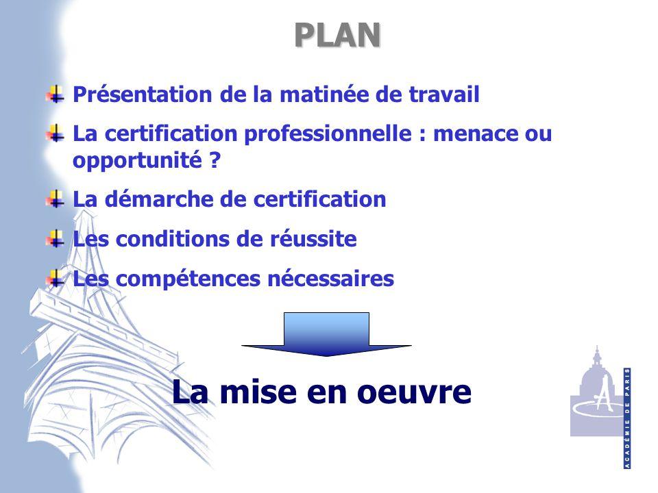 PLAN PLAN Présentation de la matinée de travail La certification professionnelle : menace ou opportunité .