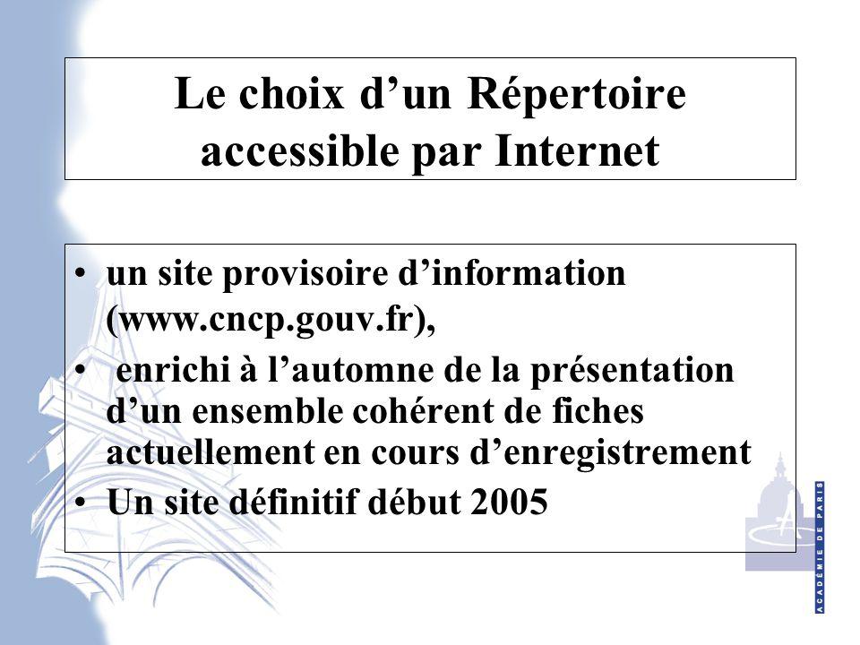 Le choix d'un Répertoire accessible par Internet un site provisoire d'information (www.cncp.gouv.fr), enrichi à l'automne de la présentation d'un ensemble cohérent de fiches actuellement en cours d'enregistrement Un site définitif début 2005