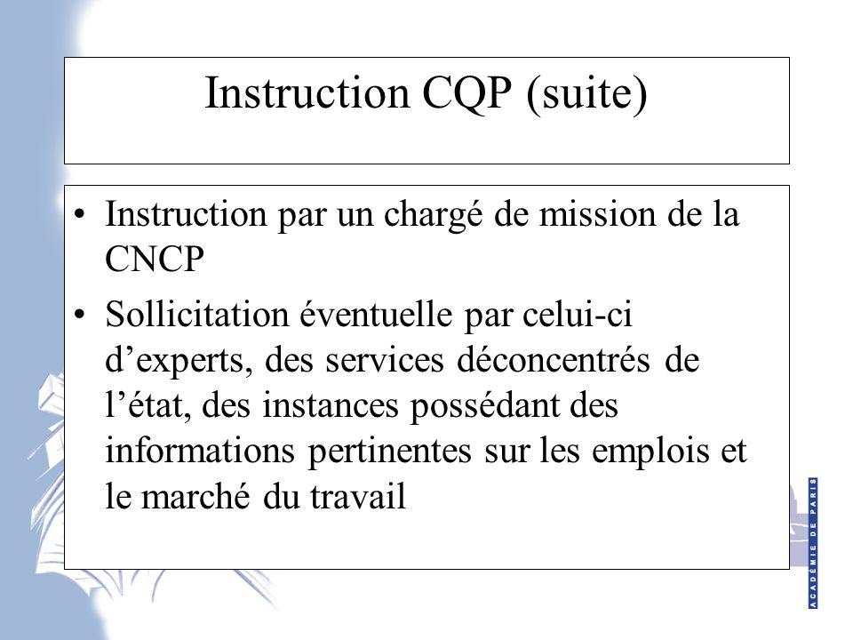 Instruction CQP (suite) Instruction par un chargé de mission de la CNCP Sollicitation éventuelle par celui-ci d'experts, des services déconcentrés de l'état, des instances possédant des informations pertinentes sur les emplois et le marché du travail