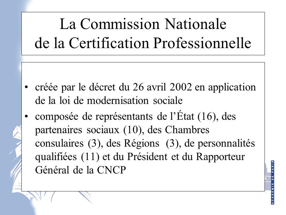 La Commission Nationale de la Certification Professionnelle créée par le décret du 26 avril 2002 en application de la loi de modernisation sociale composée de représentants de l'État (16), des partenaires sociaux (10), des Chambres consulaires (3), des Régions (3), de personnalités qualifiées (11) et du Président et du Rapporteur Général de la CNCP