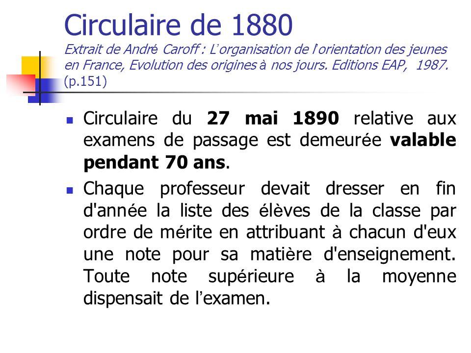 Circulaire de 1880 Extrait de Andr é Caroff : L ' organisation de l ' orientation des jeunes en France, Evolution des origines à nos jours.